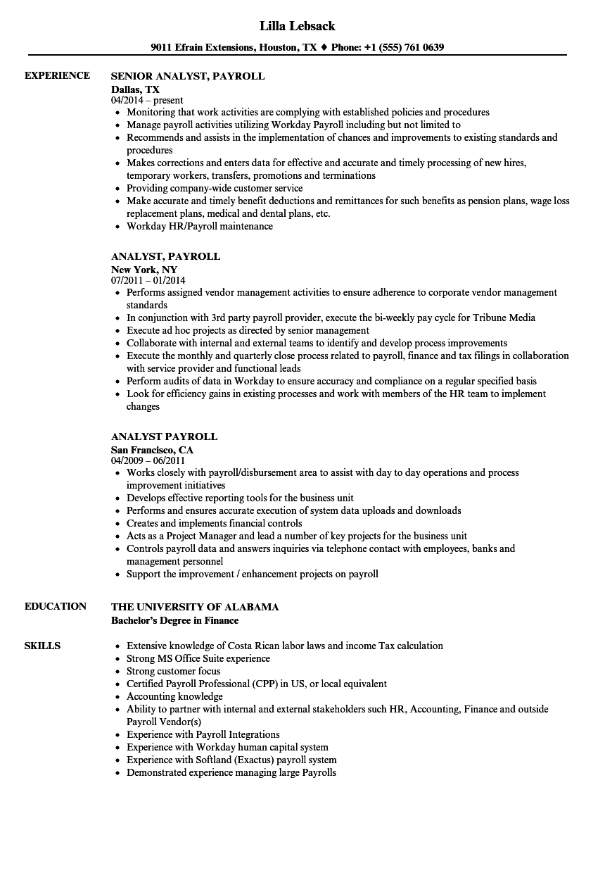 Analyst, Payroll Resume Samples | Velvet Jobs