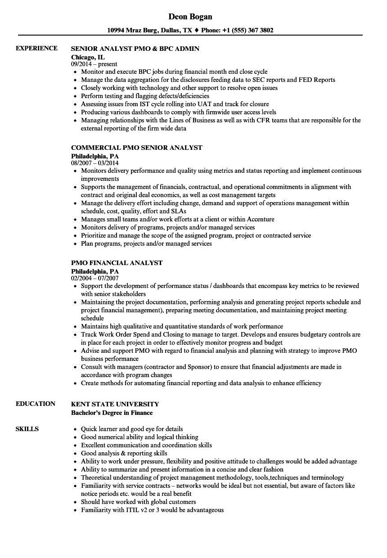 Analyst, PMO Resume Samples | Velvet Jobs