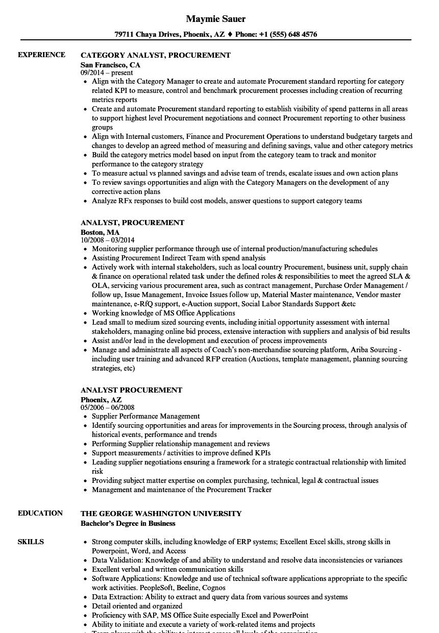Analyst, Procurement Resume Samples | Velvet Jobs