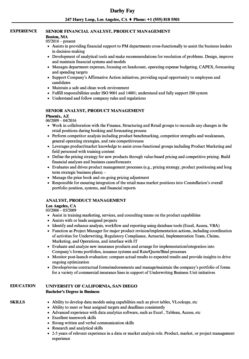 analyst  product management resume samples