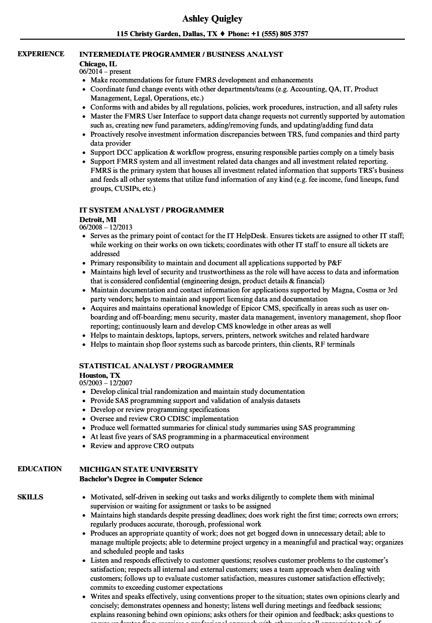 Analyst, Programmer / Analyst Resume Samples | Velvet Jobs