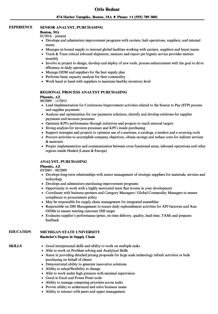 analyst  purchasing resume samples