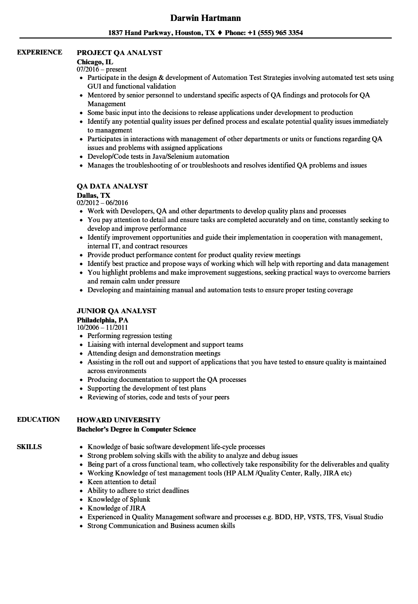 analyst  qa analyst resume samples