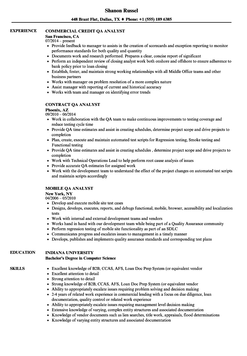 Analyst QA Resume Samples | Velvet Jobs