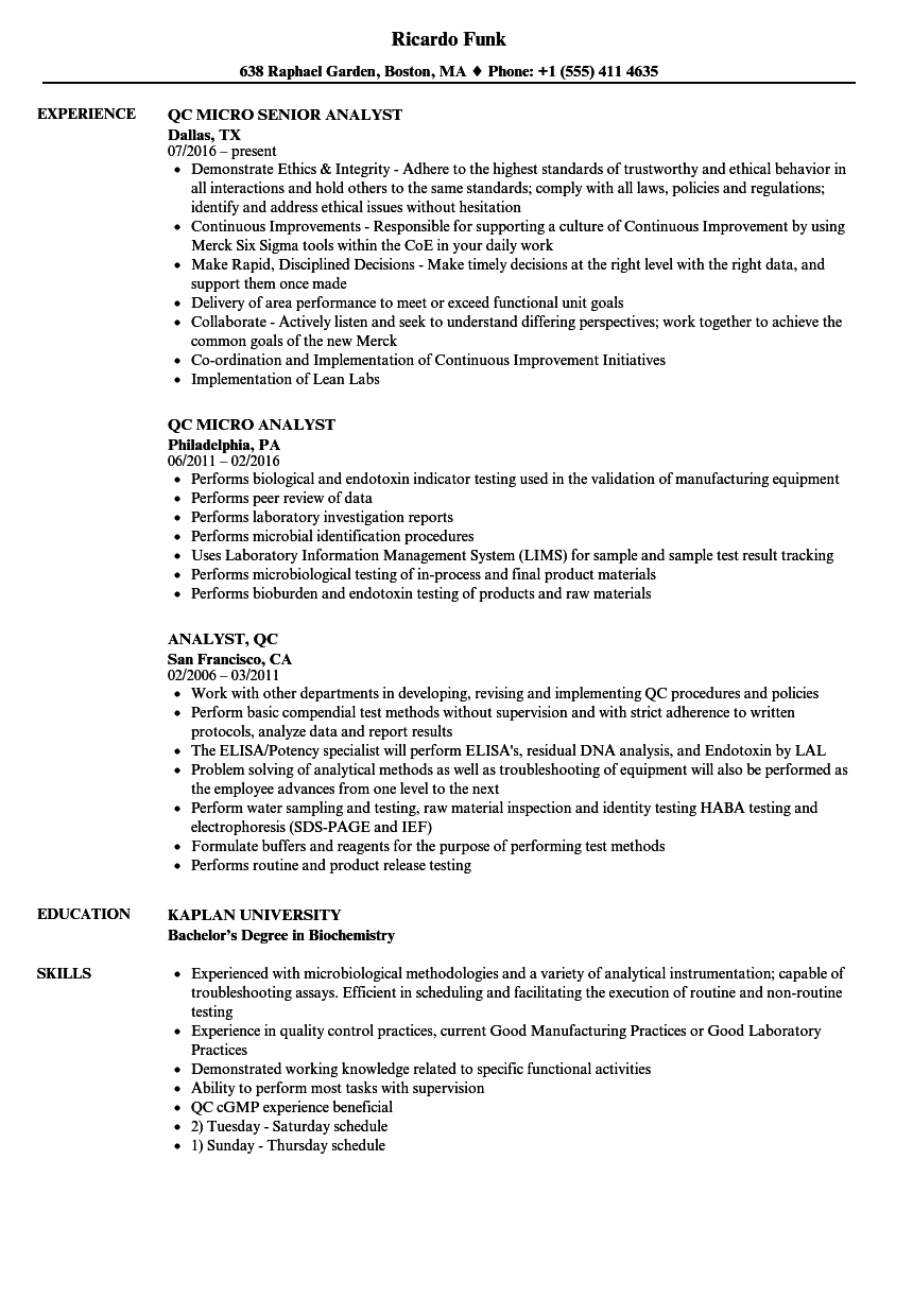 analyst  qc resume samples