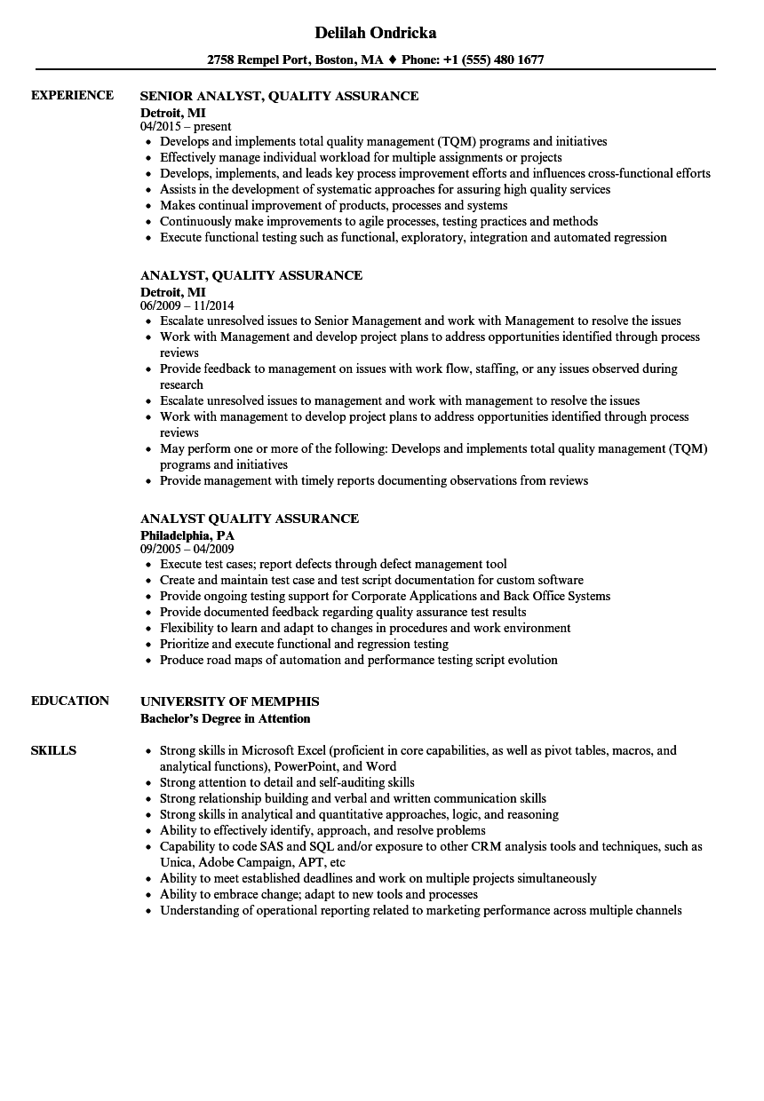 Analyst, Quality Assurance Resume Samples | Velvet Jobs