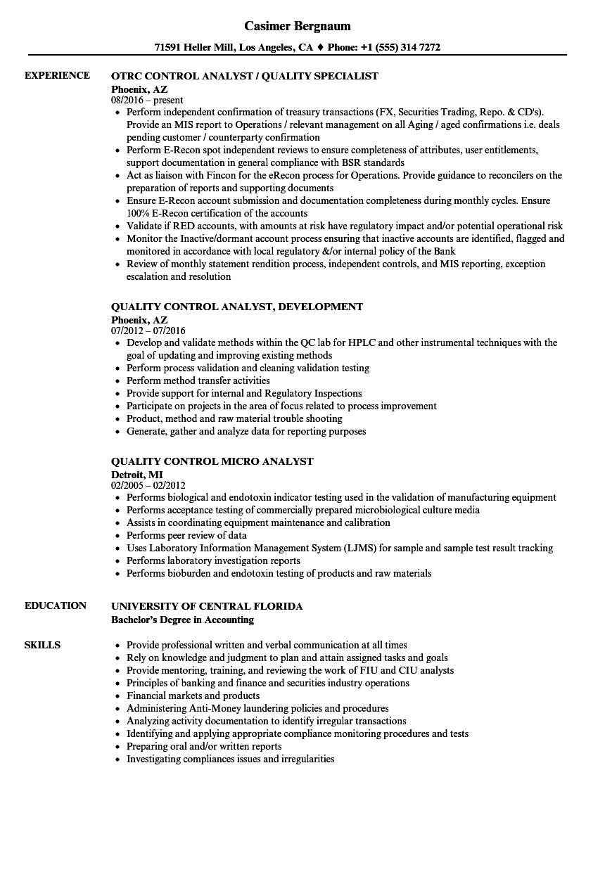 Analyst Quality Control Resume Samples Velvet Jobs