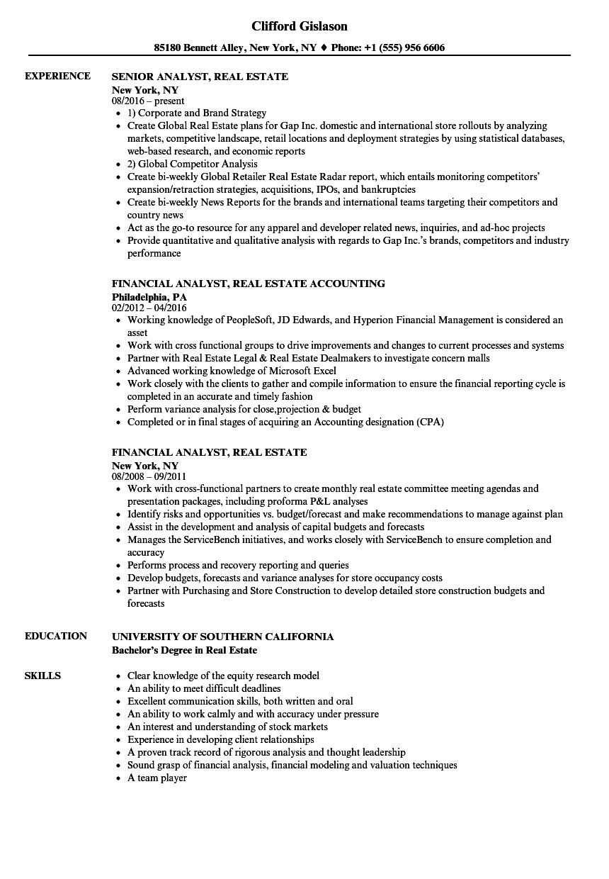 download analyst real estate resume sample as image file - Real Estate Resume Examples