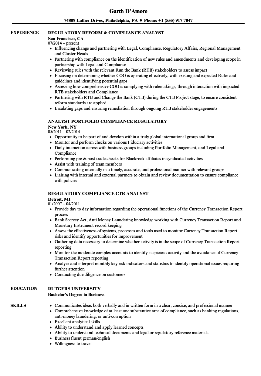 Download Analyst Regulatory Compliance Resume Sample As Image File