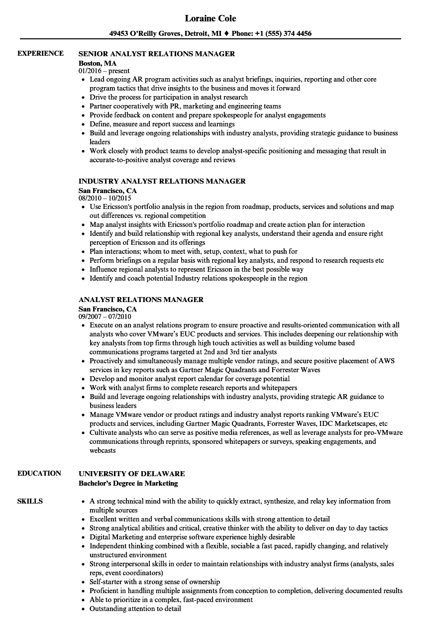 analyst relations manager resume samples