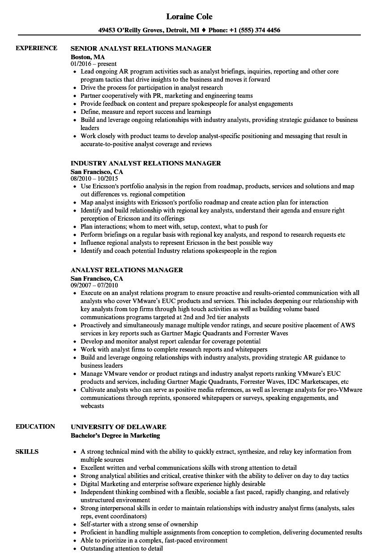 Analyst Relations Manager Resume Samples | Velvet Jobs