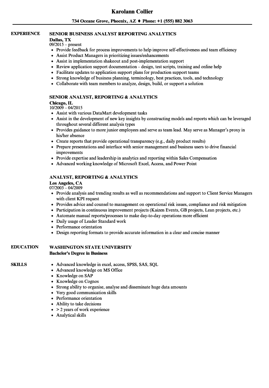 analyst  reporting  u0026 analytics resume samples