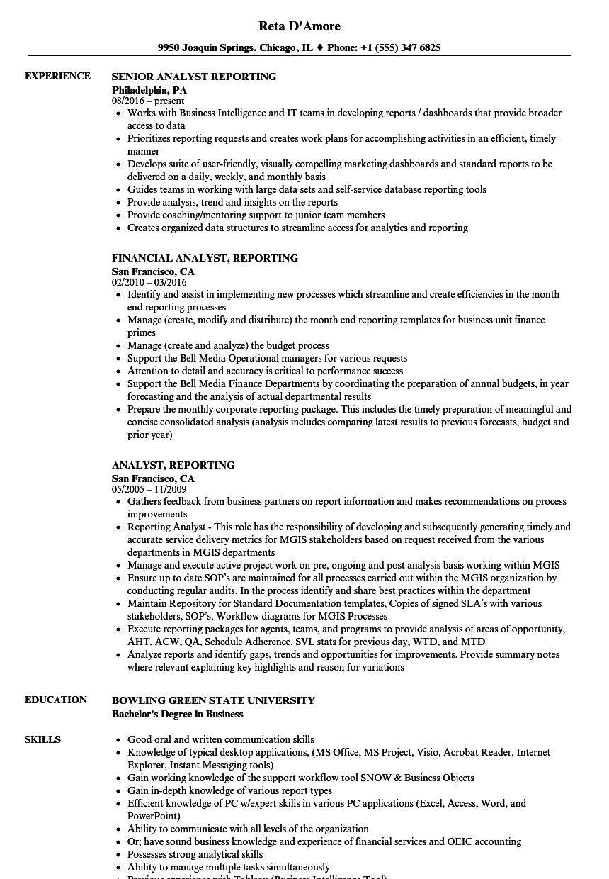 analyst  reporting resume samples