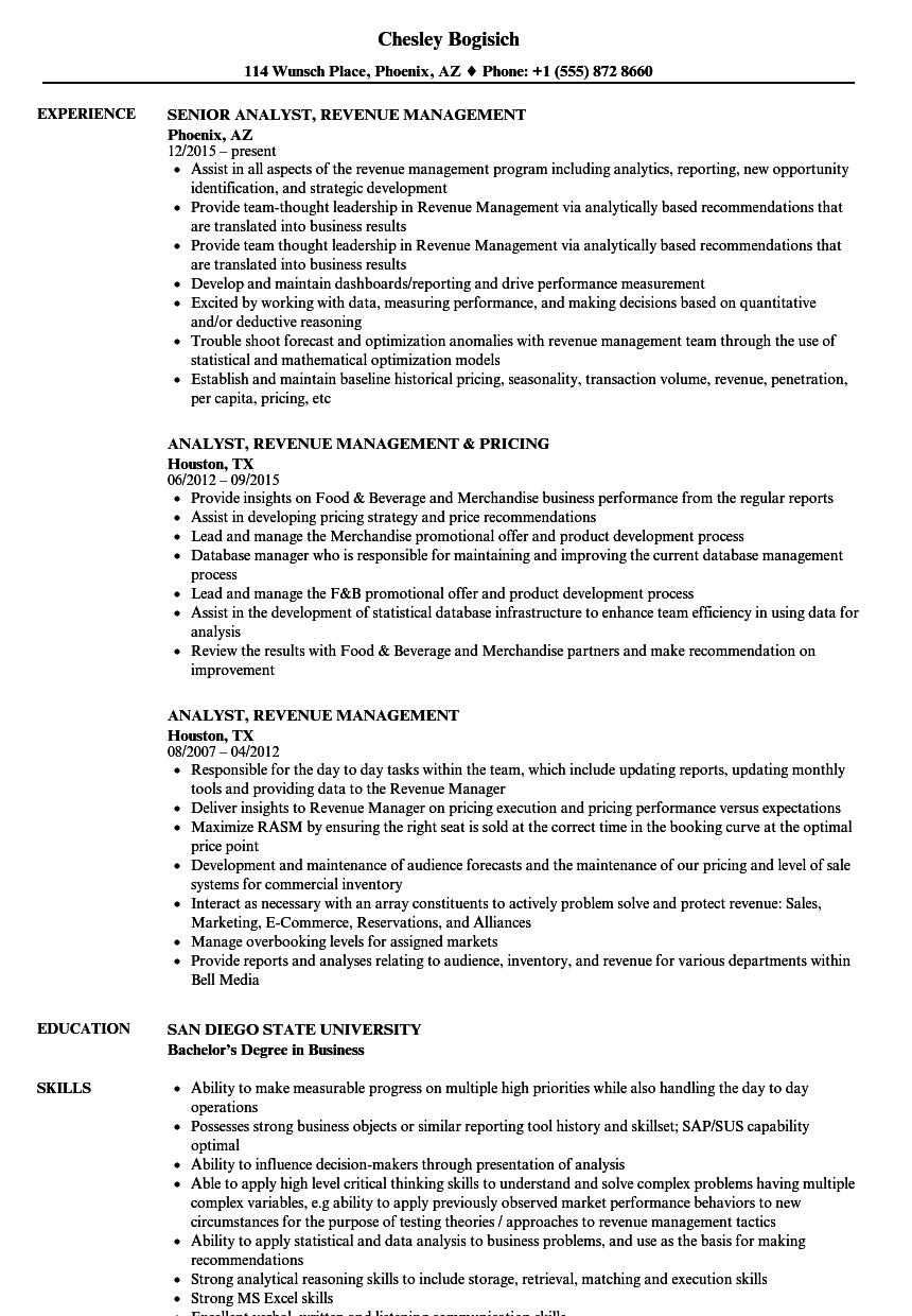 Analyst, Revenue Management Resume Samples | Velvet Jobs