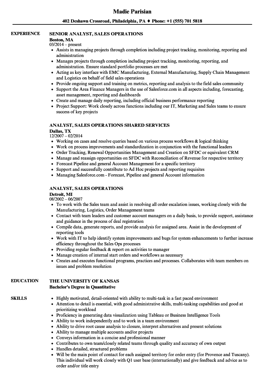 Resume Sample For Analyst Position