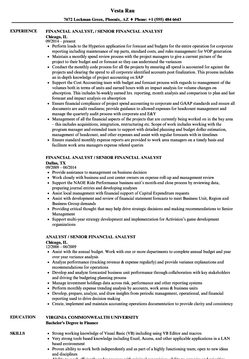 Analyst / Senior Financial Analyst Resume Samples | Velvet Jobs