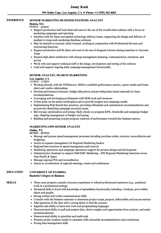 download analyst senior marketing resume sample as image file - Campaign Analyst Sample Resume