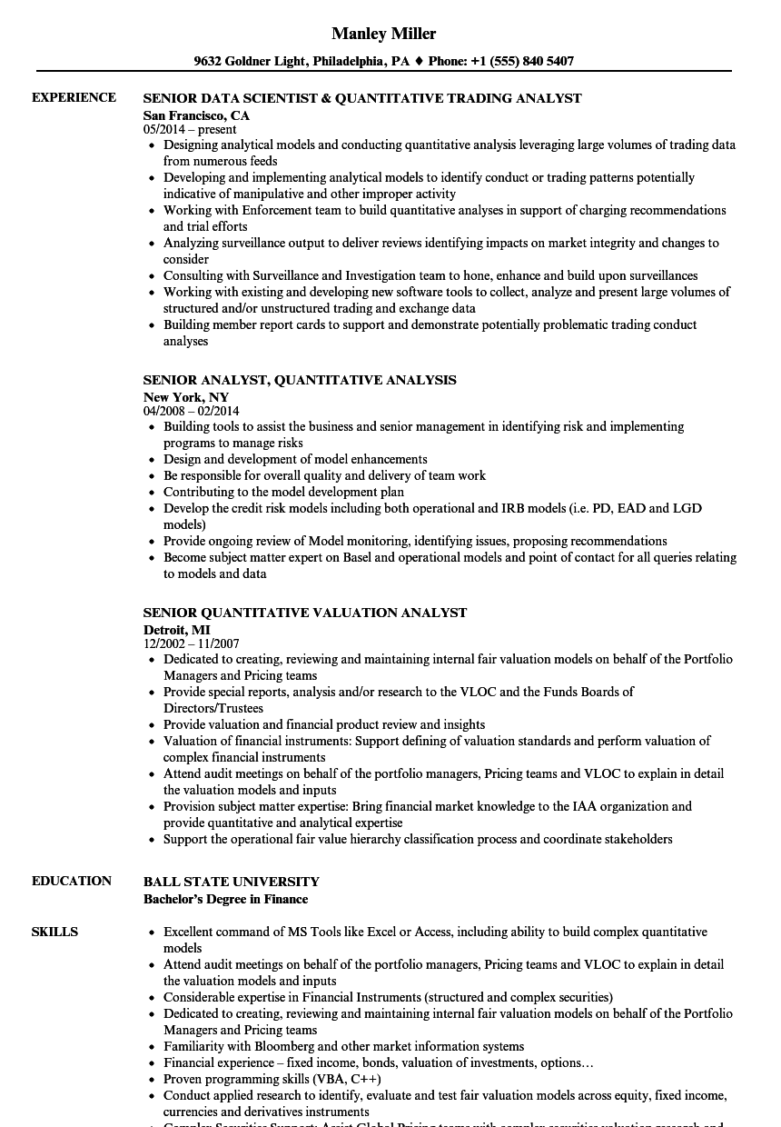 analyst    senior quantitative analyst resume samples