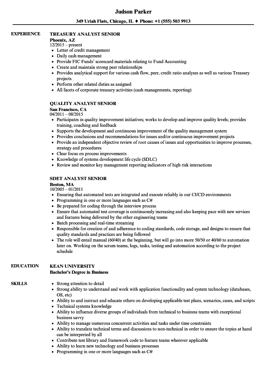 analyst  senior resume samples