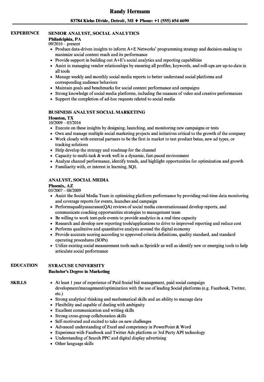 analyst  social resume samples