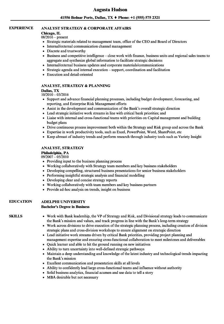 financial planning and analysis resumes