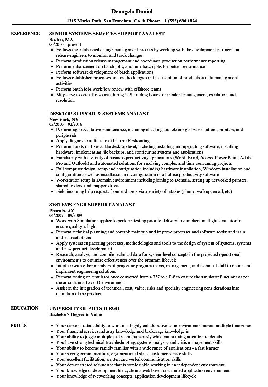 Analyst, Systems Support Resume Samples | Velvet Jobs
