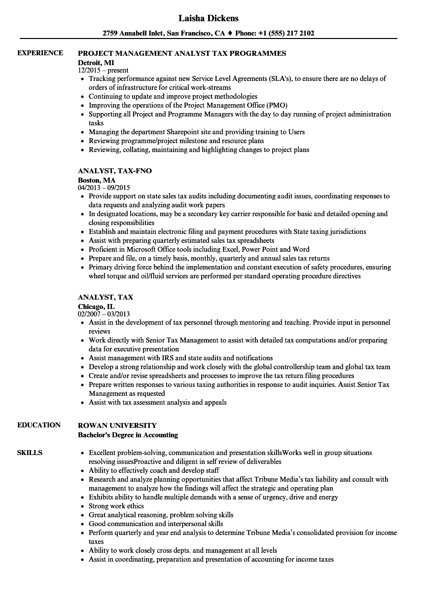 senior tax analyst resume
