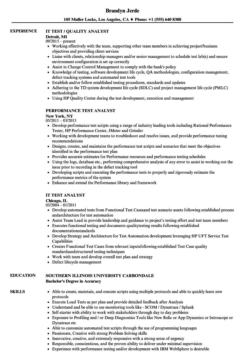 Test analyst sample resume