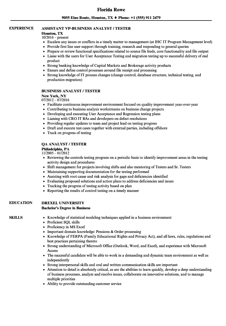 Analyst Tester Resume Samples | Velvet Jobs