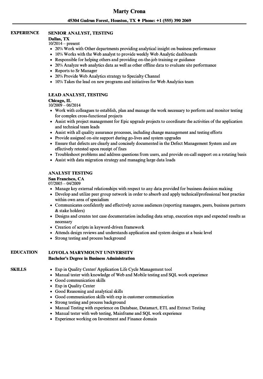 Download Analyst Testing Resume Sample As Image File