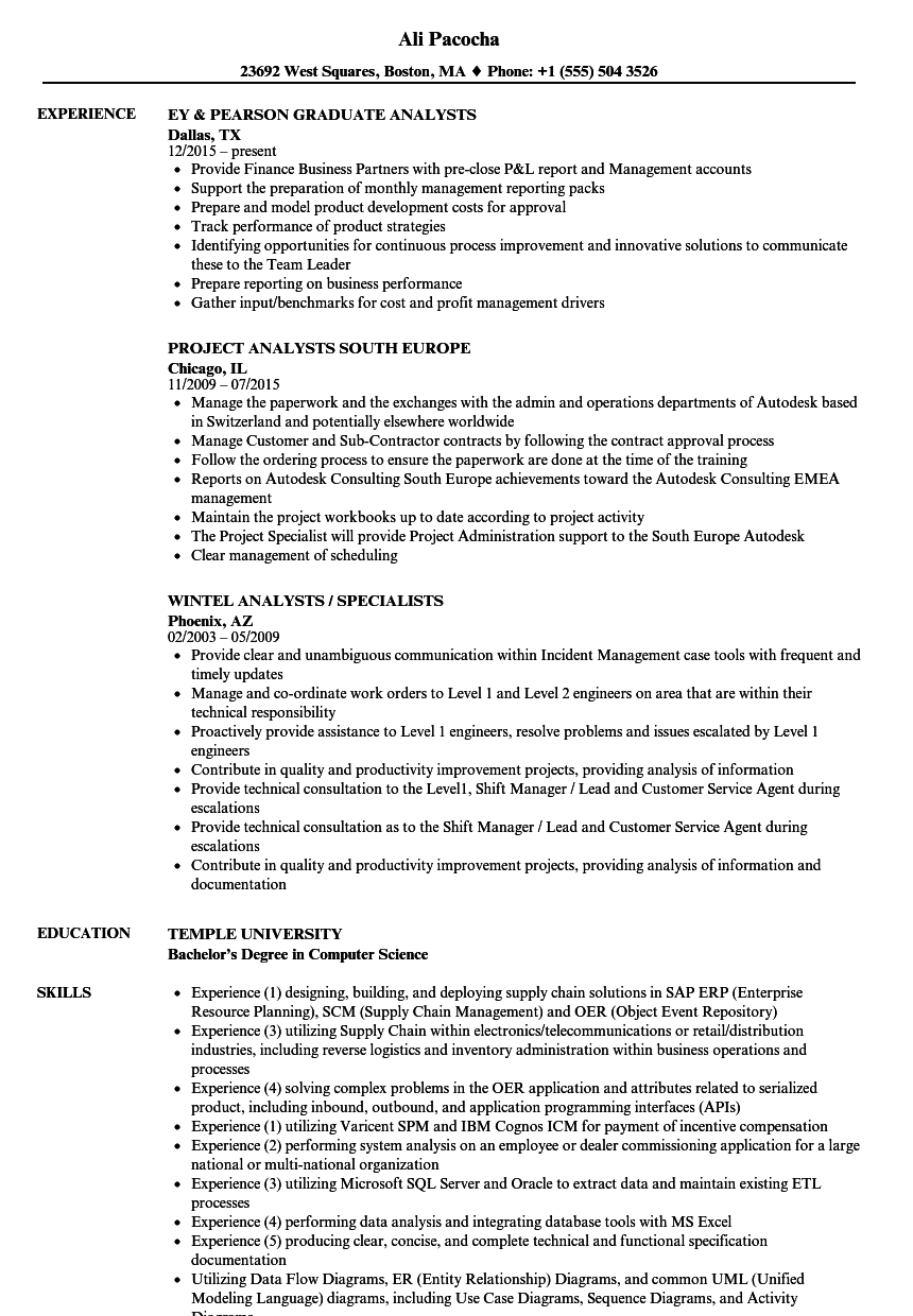 Great Download Analysts Resume Sample As Image File