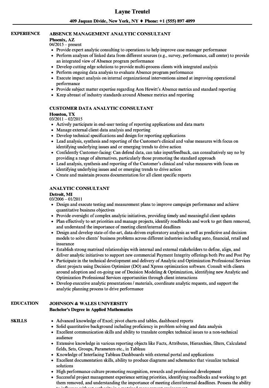 Analytic Consultant Resume Samples | Velvet Jobs
