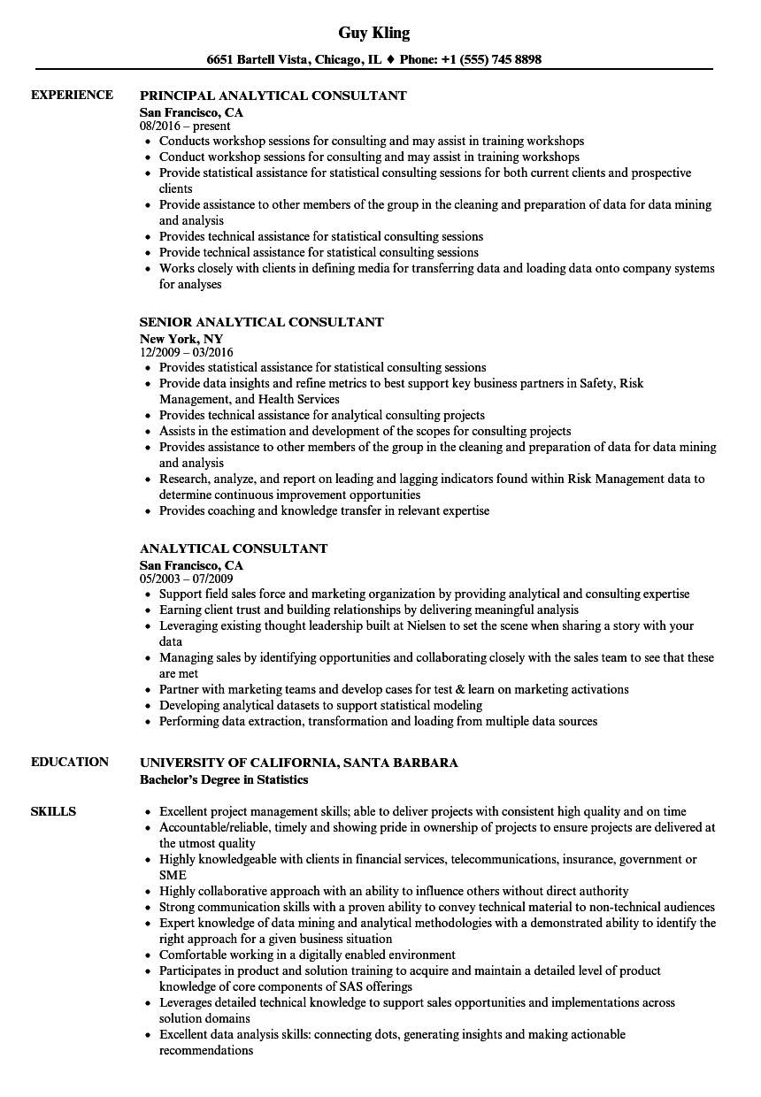 analytical consultant resume samples
