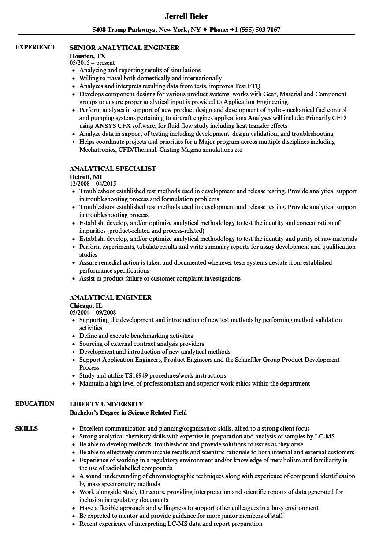 analytical resume samples