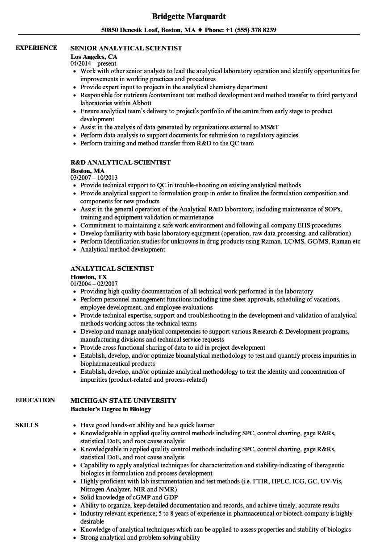 analytical scientist resume samples