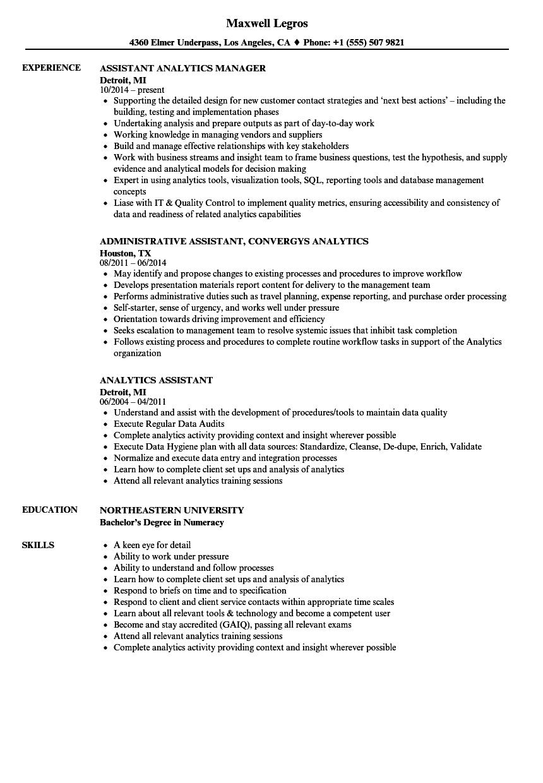 Analytics Assistant Resume Samples Velvet Jobs