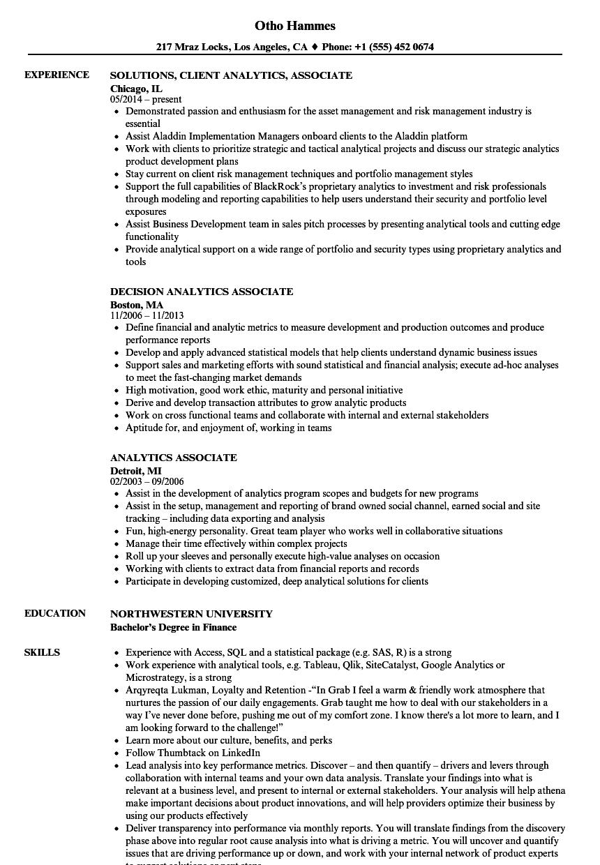 Analytics Associate Resume Samples | Velvet Jobs
