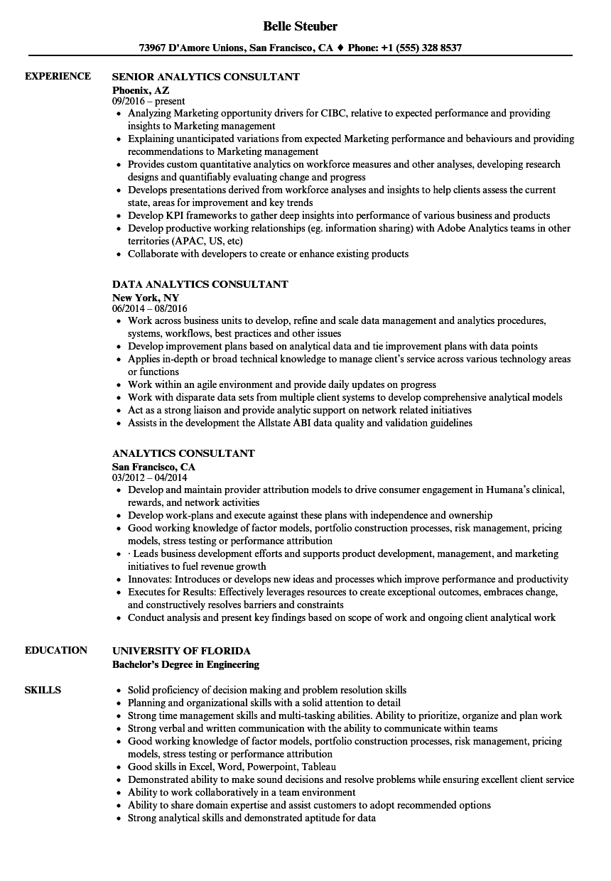 analytics consultant resume samples