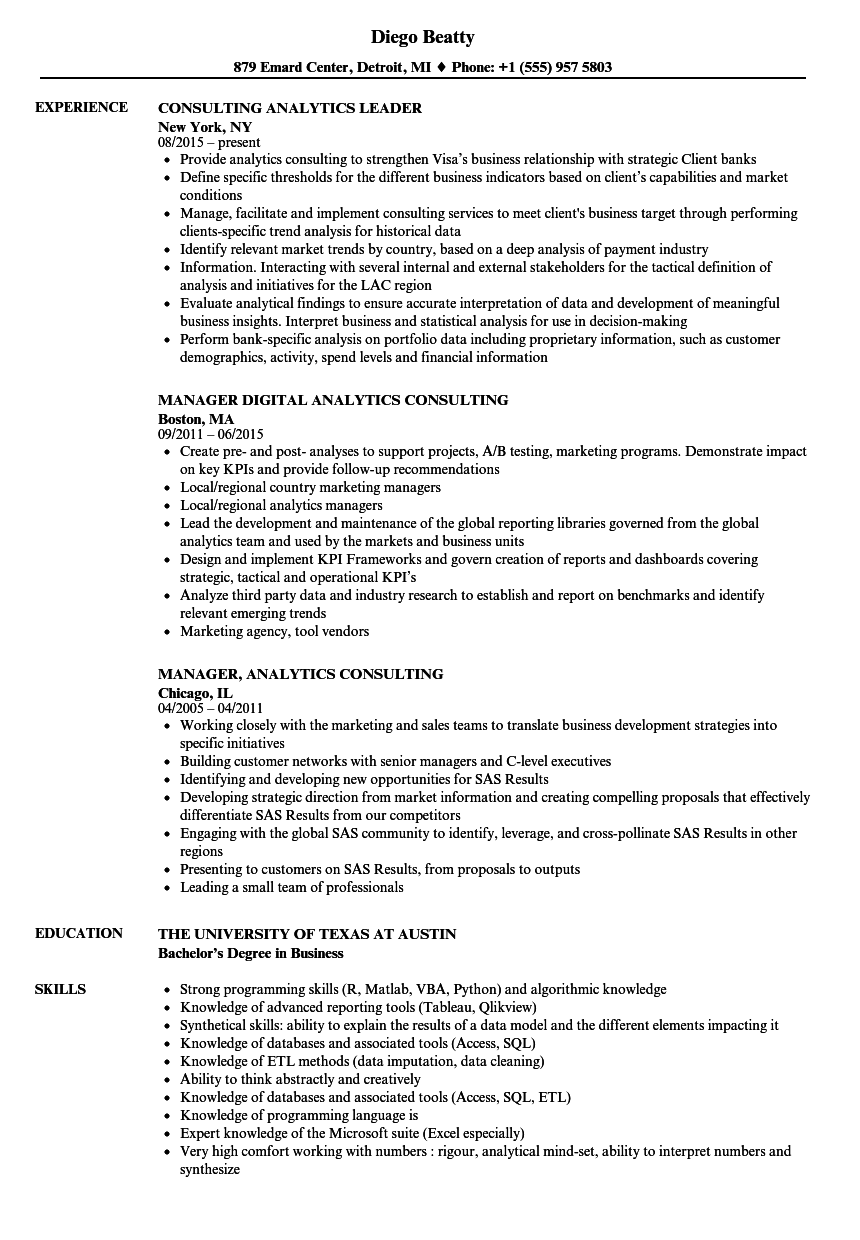 analytics consulting resume samples