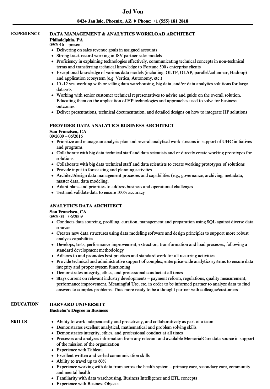 Analytics Data Architect Resume Samples | Velvet Jobs