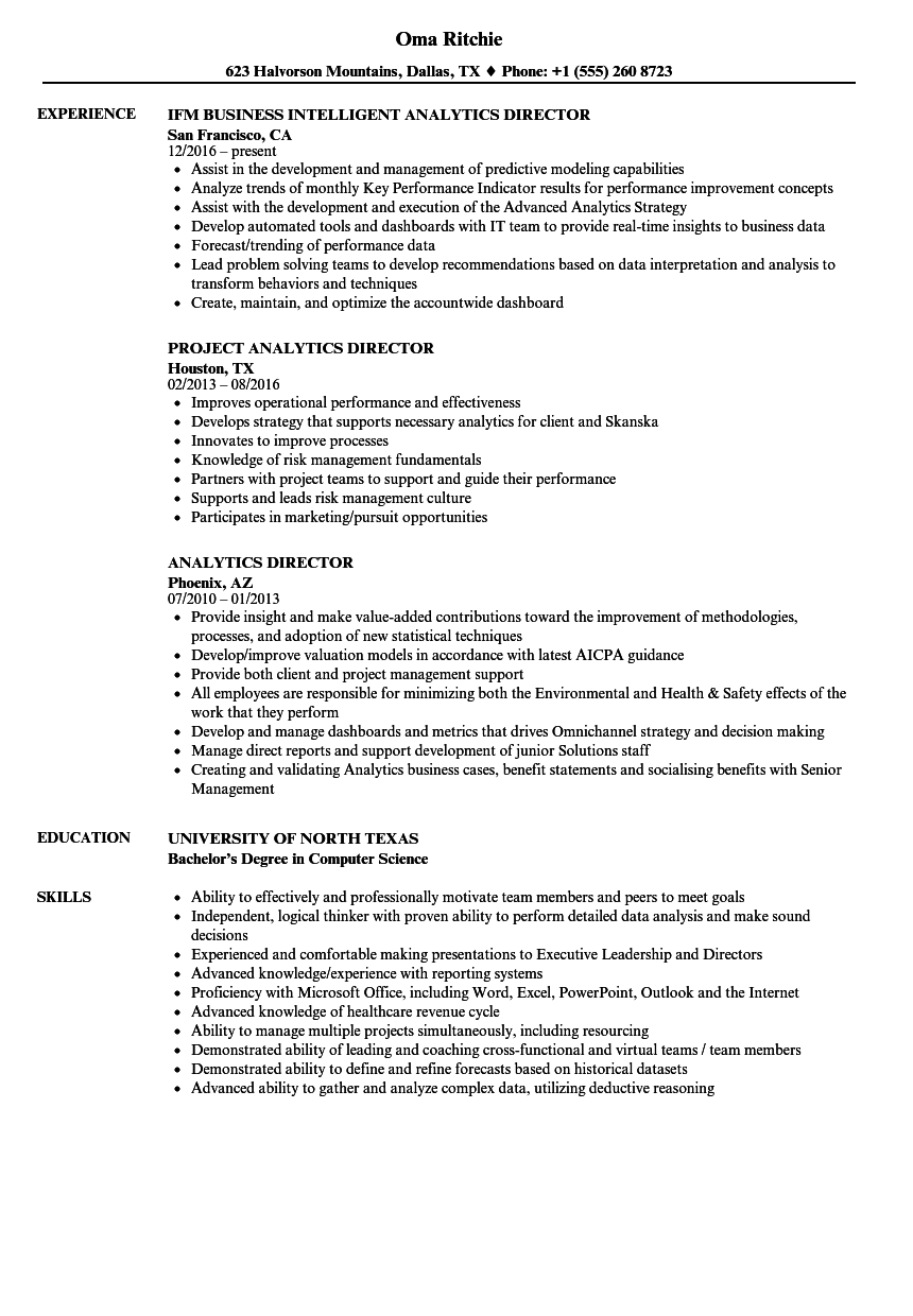 analytics director resume samples