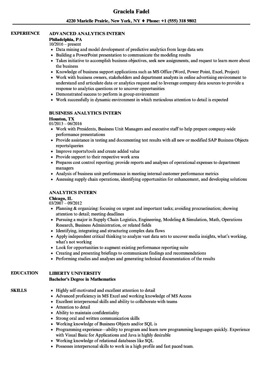Analytics Intern Resume Samples