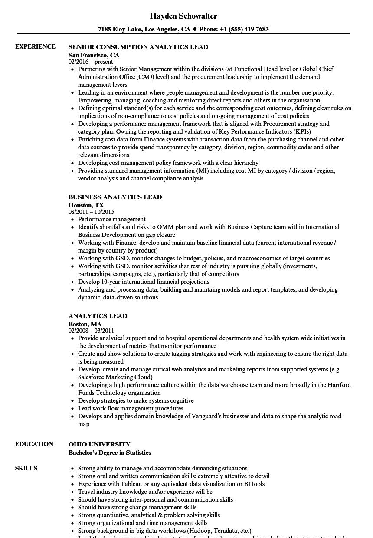 analytics lead resume samples