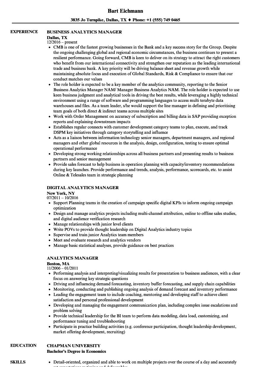 Analytics Manager Resume Samples | Velvet Jobs