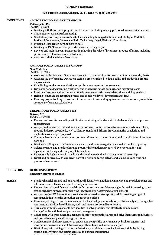 analytics portfolio resume samples
