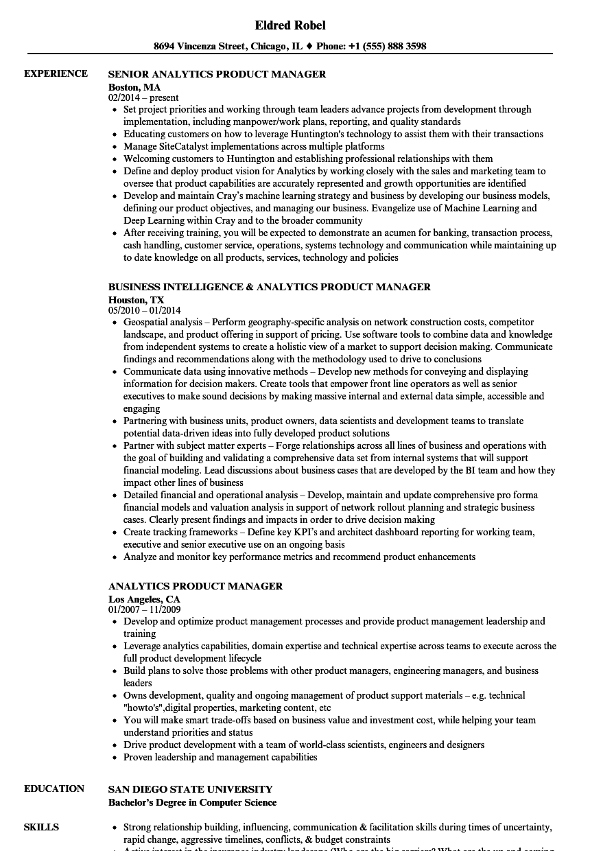 Analytics Product Manager Resume Samples Velvet Jobs