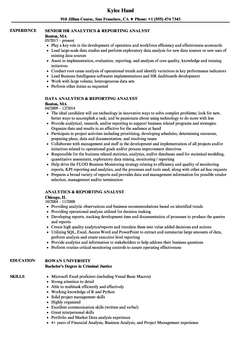 analytics  u0026 reporting analyst resume samples