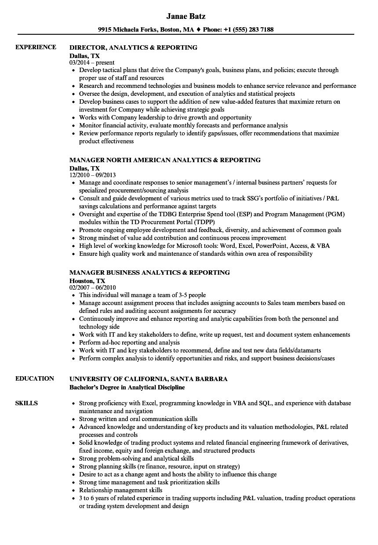 analytics reporting resume samples  velvet jobs