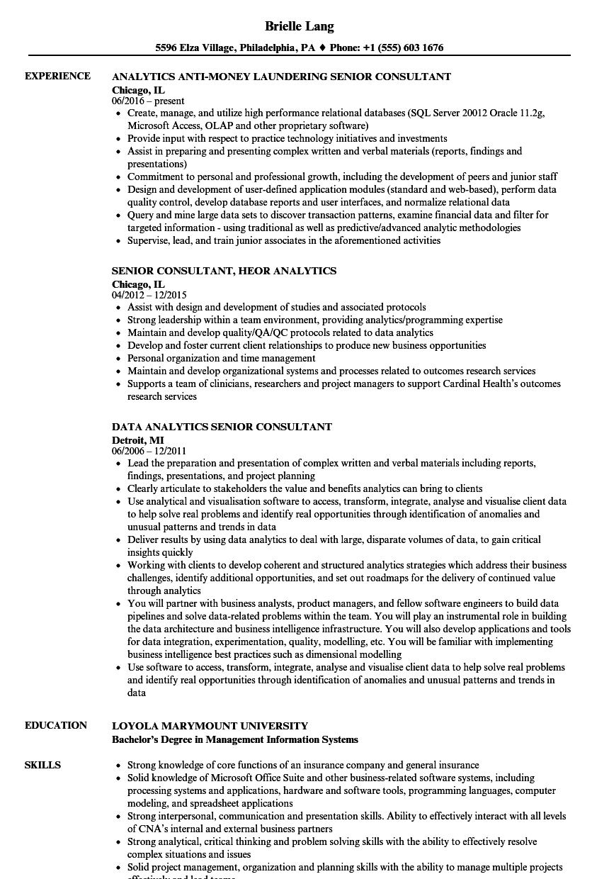 analytics senior consultant resume samples