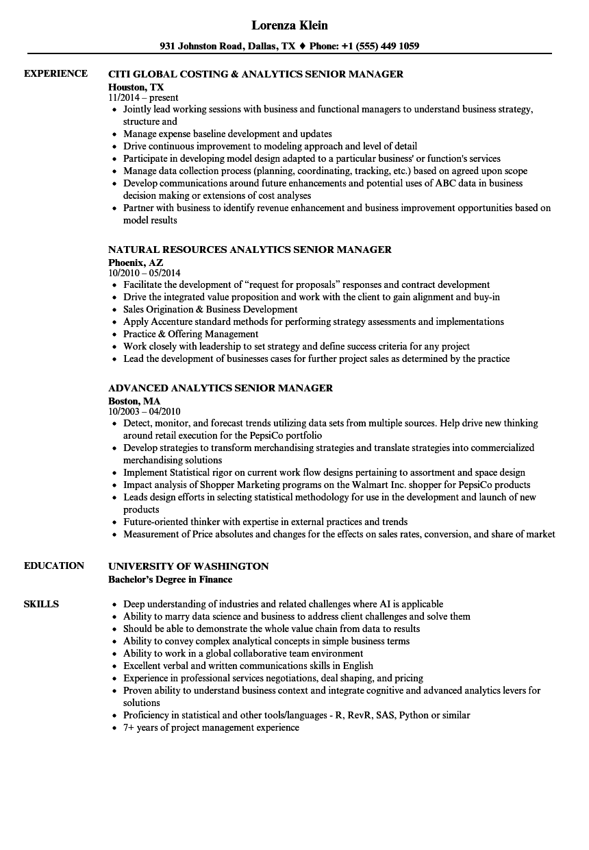 Analytics Senior Manager Resume Samples | Velvet Jobs
